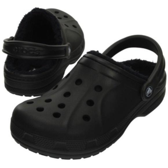 b1d584dc19cea2 Men s Winter Crocs Black Fuzzy Brand New 10